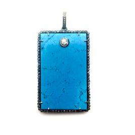 turquoise dog tag